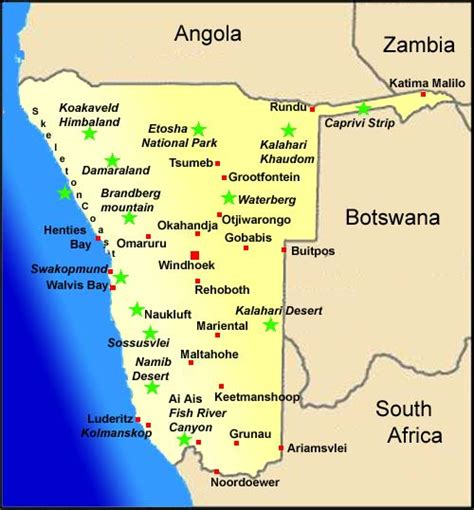 Namibia Map and Weather Information Namibia Travel Booking