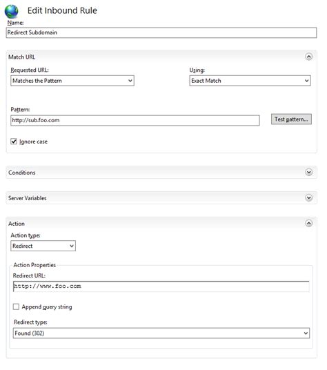 Using IIS URL Rewrite to redirect from one sub domain to