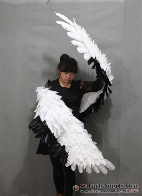New Costume Adult's white soft Devil feather wings