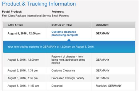 Customs clearance processing complete? (USPS) ? (Zoll