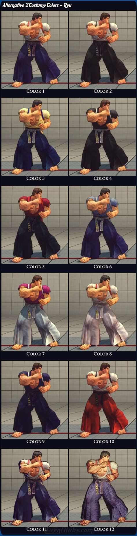 Costume and alternative outfit colors for Ryu in Super