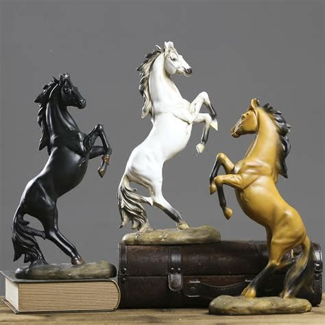 resin vintage horse to the success black and white horse