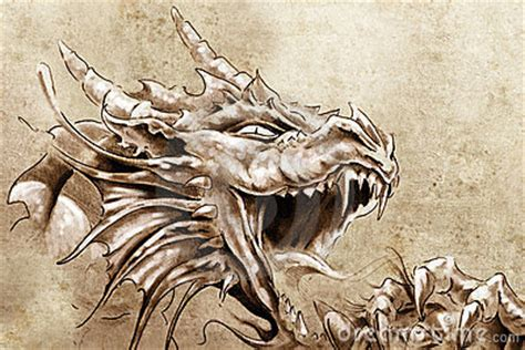 Tattoo Art, Sketch Of A Anger Medieval Stock Photography