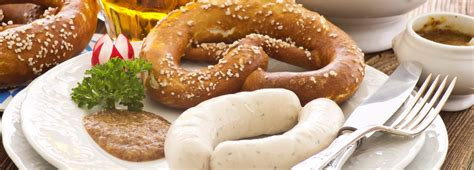 Münchner Weißwurst or white sausage   Food and drink in